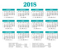 2018 Blue green yearly calendar. Federal holidays, moon and numbers of weeks Royalty Free Stock Image