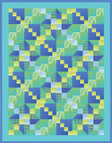 Blue, Green and Yellow Quilt Stock Photo