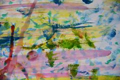 Blue green yellow red paint, white wax, watercolor abstract background stock photo