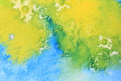 Blue Green and Yellow Watercolor Macro 6 Royalty Free Stock Photo