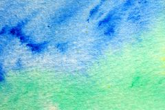 Blue Green and Yellow Watercolor Macro 3 Royalty Free Stock Photo