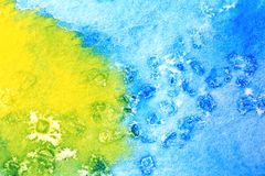 Blue Green and Yellow Watercolor Macro 4 Stock Photo