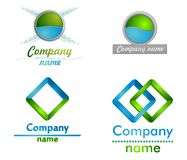 Blue and green3D logo. Blue and green wings business  glass 3D logo for you Royalty Free Stock Photography