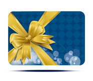 Blue, greeting business card with yellow bow Stock Image