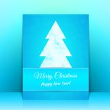 Blue Greeting card background with Christmas tree Royalty Free Stock Image