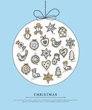 Blue greeting card with Christmas gingerbreads Royalty Free Stock Photography