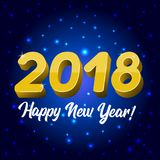 Blue Greeting card with a New Year 2018. Vector 2018 Happy New Year greeting card or poster template flyer or invitation design vector illustration