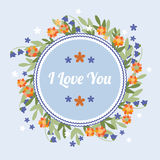 Blue greeting card with orange flowers Stock Image