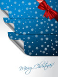 Blue greeting card with stickers shaping christmas tree Royalty Free Stock Images