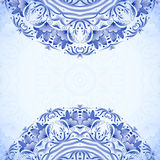 Blue greeting card template with floral pattern in Royalty Free Stock Image