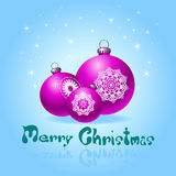 Blue greeting cards with christmas ball Royalty Free Stock Images
