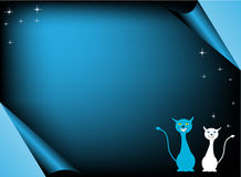 Blue greeting with cats. Blue greeting with two happy cats and small shiny stars Royalty Free Stock Images