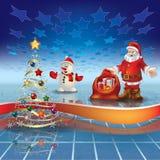 Blue greeting with Christmas tree and Santa Claus. Abstract blue greeting with Christmas tree and Santa Claus Stock Images