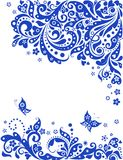 Blue greeting floral banner Stock Photos