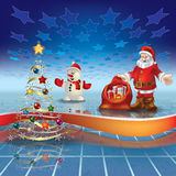 Blue Greeting With Christmas Tree And Santa Claus Stock Images