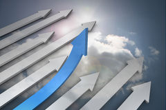 Blue and grey arrows pointing up Stock Images