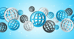 Blue grey and black digital web icons '3D rendering'. Blue grey and black digital web icons on blue background '3D rendering Royalty Free Stock Photos