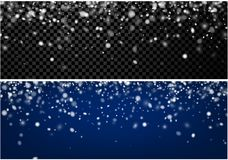 Two abstract winter banners with snow. Stock Photo