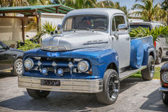 Blue, grey classic vintage pickup truck  standing  Stock Photo