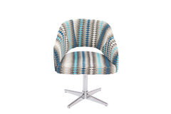 Blue and grey color armchair. Modern designer chair on white background. Texture chair royalty free stock image