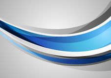 Blue and grey corporate waves background Stock Images
