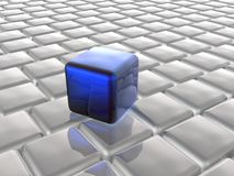 Blue and grey cubes. As abstract background, 3D illustration Stock Photos
