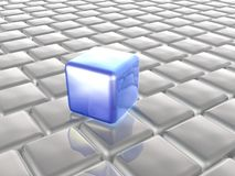 Blue and grey cubes. As abstract background, 3D illustration Stock Photography