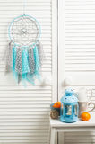 Blue grey dream catcher with crocheted doilies Stock Image