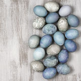 Blue and grey Easter eggs Stock Photography