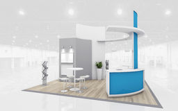 Blue and Grey Exhibition Stand 3d Rendering Royalty Free Stock Photo