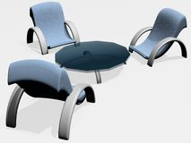 Blue-grey Furniture. Set over white background Stock Photo