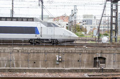 Blue and grey high-speed train Royalty Free Stock Images