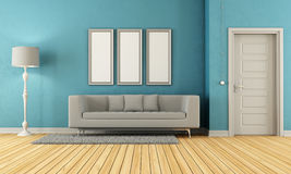 Blue and grey living room Royalty Free Stock Image