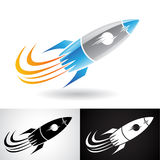 Blue and Grey Rocket Icon Royalty Free Stock Images