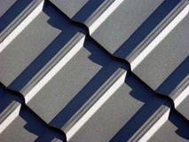 Blue grey roofing from metal plate stock photography