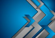 Blue and grey tech abstract background with arrows. Vector graphic modern design illustration Royalty Free Stock Image
