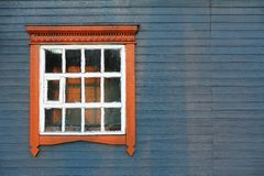 Blue grey wooden house wall with big window coyspace Stock Photo