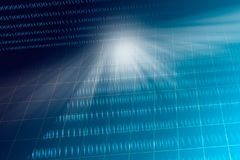 Blue grid with blurred binary code background. Computer technology concept royalty free stock image