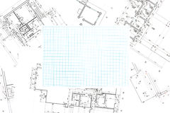 Blue grid graph paper with blueprints background Stock Photo