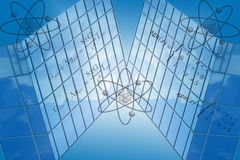 Blue Grid With Math Formulas. Blue background grid with atom symbols and mathematical formulas Royalty Free Illustration
