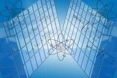 Blue Grid With Math Formulas. Blue background grid with atom symbols and mathematical formulas royalty free illustration