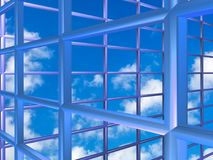 Blue grid with sky. Blue metallic grid illustration with sky background Royalty Free Stock Photo