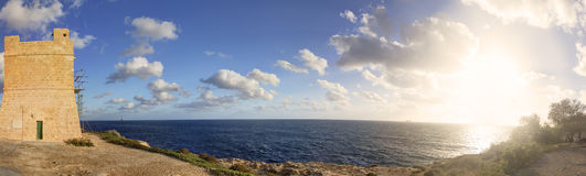 Blue Grotto area panorama and an old tower in Malta, Europe Royalty Free Stock Image
