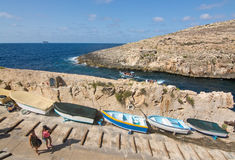 Blue Grotto boats downhill Stock Photo