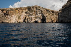 Blue grotto seen from a boat trip. Malta. Blue grotto caves and cliffs seen from a boat trip. Malta Stock Images