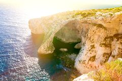 Blue grotto at malta stock image