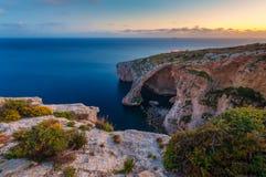 Blue Grotto Malta at Sunset.  Stock Photo