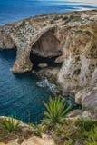 Blue, Grotto, Maltese rocky coast. Maltese rocky coast, Blue Grotto, Mediterranean sea Stock Photo
