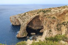 Blue Grotto, Malta. Blue Grotto, a series of sea caverns on the southern coast of Malta in the Mediterranean Royalty Free Stock Image