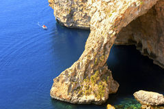 The Blue Grotto on the southeastern coast of Malta. The Blue Grotto on the southeastern coast of Malta is famous for its eerie azure waters and is a popular Royalty Free Stock Photography